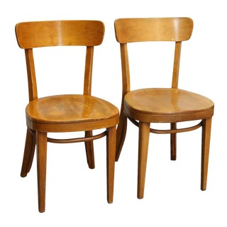 Early 20th Century Vintage Light Stained Maple Thonet Chairs- a Pair For Sale