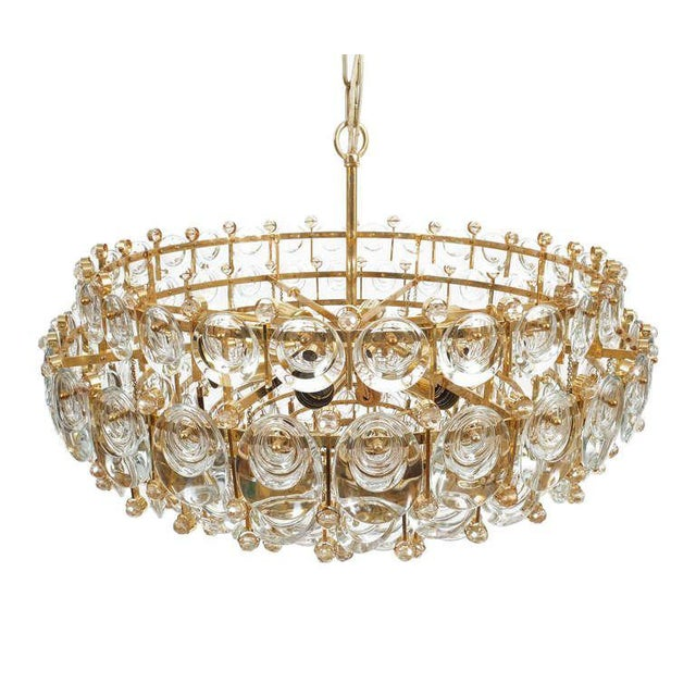 Brass Exceptional Large Gilt Brass and Glass Chandelier Lamp, Palwa circa 1960 For Sale - Image 7 of 11
