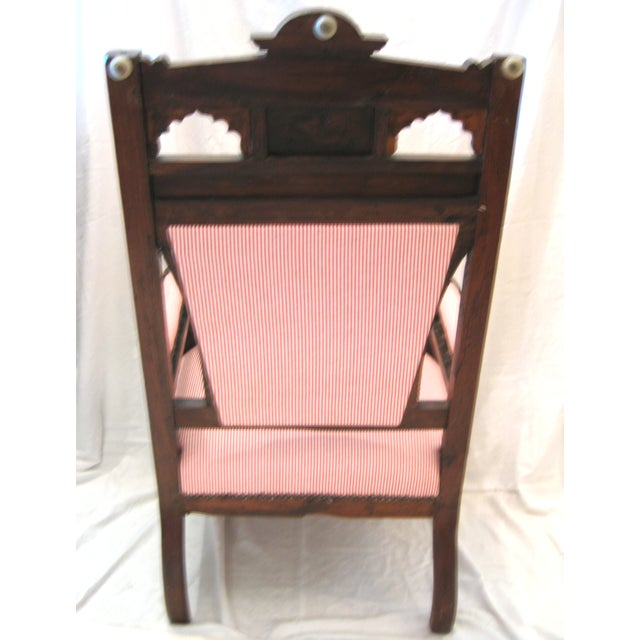 Antique Eastlake Style Wood Inlay Chair - Image 5 of 8