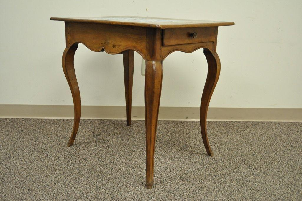 Item: Charming Vintage Primitive French Country Tile Top Side Table With  One Drawer. The