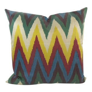 Colorful Woven Silk Ikat Pillow