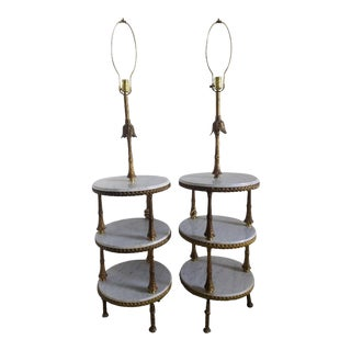 Antique 3 Tier Brass and Marble Lamps - A Pair For Sale