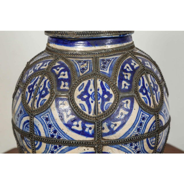 Islamic Antique Moroccan Ceramic Vase From Fez For Sale - Image 3 of 8