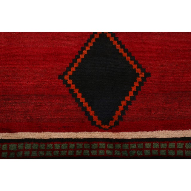 Tribal Hand-Knotted Antique Gabbeh Rug Red Beige Green With Black Diamond Pattern For Sale - Image 3 of 6