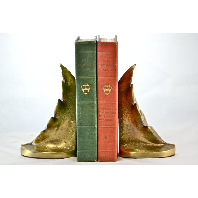 Brass Oak Leaf Bookends - A Pair - Image 3 of 8
