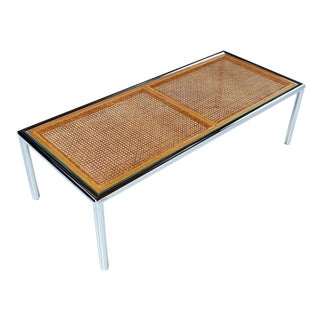 1970's Tubular Chrome Cane Glass Milo Baughman for Design Institute Coffee Table For Sale