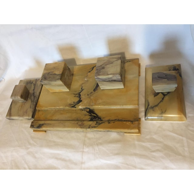 Italian Art Deco Siena Marble Double Inkwell Desk Set - 3 Pieces For Sale In San Francisco - Image 6 of 7