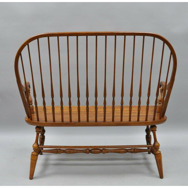 1980s Vintage H.C. Co Solid Oak Wood Windsor Colonial Style Spindle Back Bench For Sale In Philadelphia - Image 6 of 9