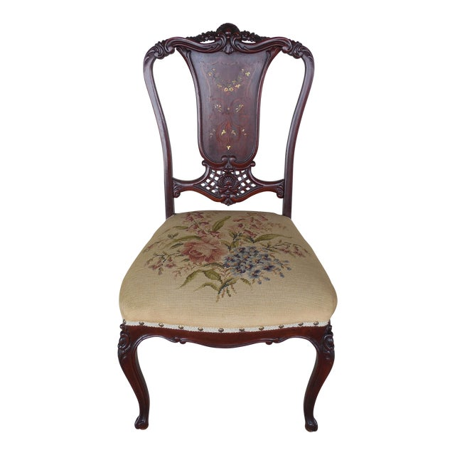 Vintage French Louis XV Style Carved Mother of Pearl Inlay Vanity Chair For Sale