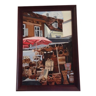 """""""Wicker Market"""" Original Painting For Sale"""