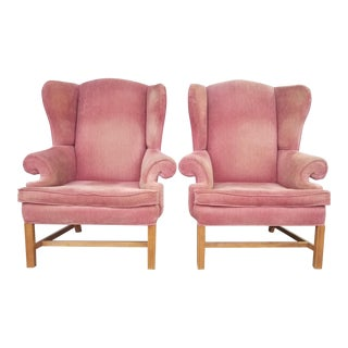 Vintage Rose Colored Velvet Wingback Chairs - Pink Velvet Chairs - a Pair