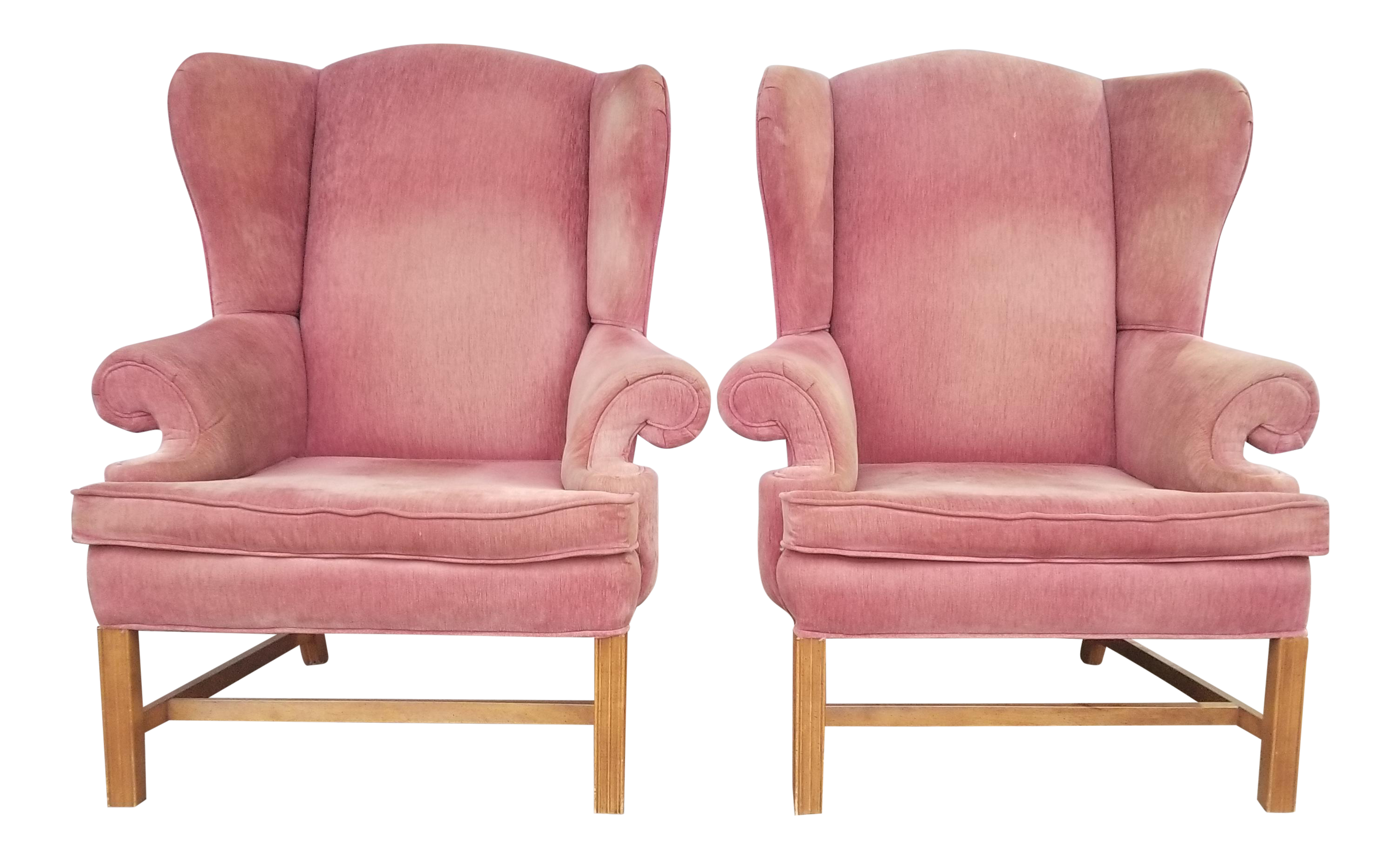 Vintage Rose Colored Velvet Wingback Chairs   Pink Velvet Chairs   A Pair