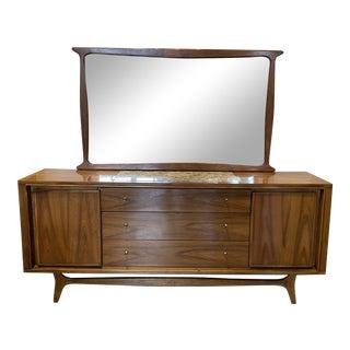 Kent Coffey Mid-Century Modern Walnut Lowboy with Mirror For Sale