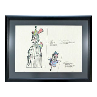 Mid Century Modern Framed Robert Israel Signed Ap Hand Colored Litho Punch 1970 For Sale