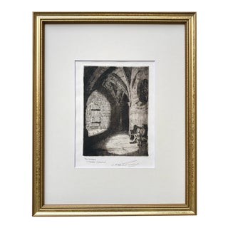 Antique Etching Church Cloister Interior by J. M. Turner For Sale