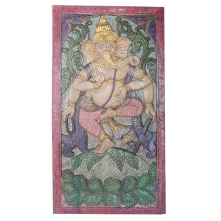 Vintage Indian Door Dancing Ganesha Dancing on Lotus Carved Wall Relief Sculpture Barndoor For Sale
