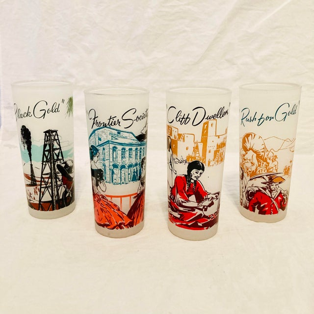 Mid-Century American Frosted Tall Glass Tumblers- Set of 4 For Sale In Los Angeles - Image 6 of 6