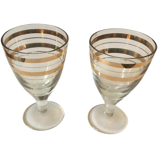 Vintage Gold Stripped Shot Glasses- A Pair - Image 1 of 5