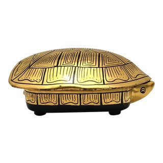 Black and Gold Lacquer Turtle Shaped Box For Sale
