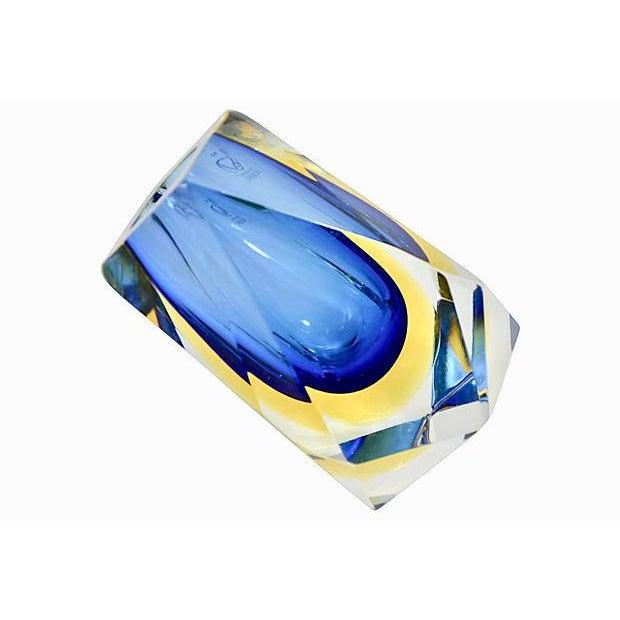 Alessandro Mandruzzato Blue Murano Art Glass Vase, Signed Mandruzzato For Sale - Image 4 of 6