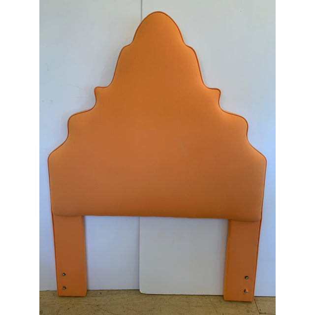 Pagoda Shaped Upholstered Twin Headboard For Sale - Image 10 of 10