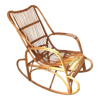 Vintage Rattan Bamboo Rocking Chair
