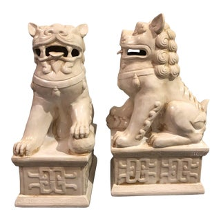 Chinoiserie Ceramic Foo Dog Figurines - a Pair For Sale