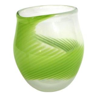 Kosta Boda Modern Green Swirl Glass Vase For Sale