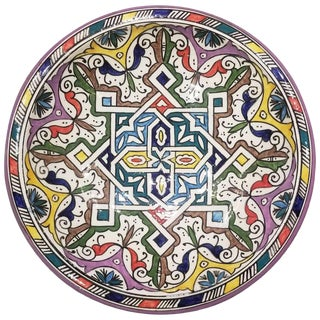 Moroccan Hand Painted Pottery Plate, Multi-Color 94 For Sale