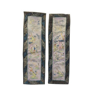Pair of Chinese Hand-Embroidered Silk Panels For Sale