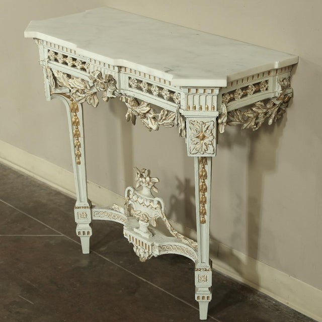19th Century Swedish Neoclassical Marble-Top Painted Console For Sale In Baton Rouge - Image 6 of 12