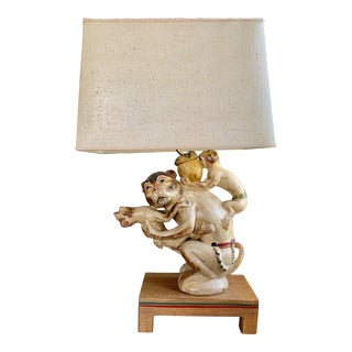 Monkey Form Painted Ceramic Lamp For Sale