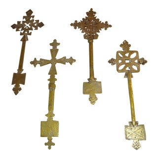 Early 20th Century Brass Coptic Ceremonial Crosses - Set of 4 For Sale