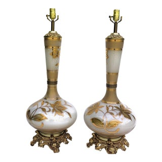 1950's Vintage Chic Vase Shaped Lamps- A Pair For Sale