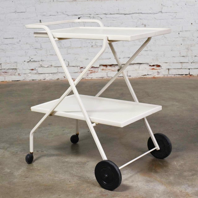 Handsome mid-century modern patio white fiberglass and enameled steel tube two-tiered tea cart, bar cart, or drink cart by...