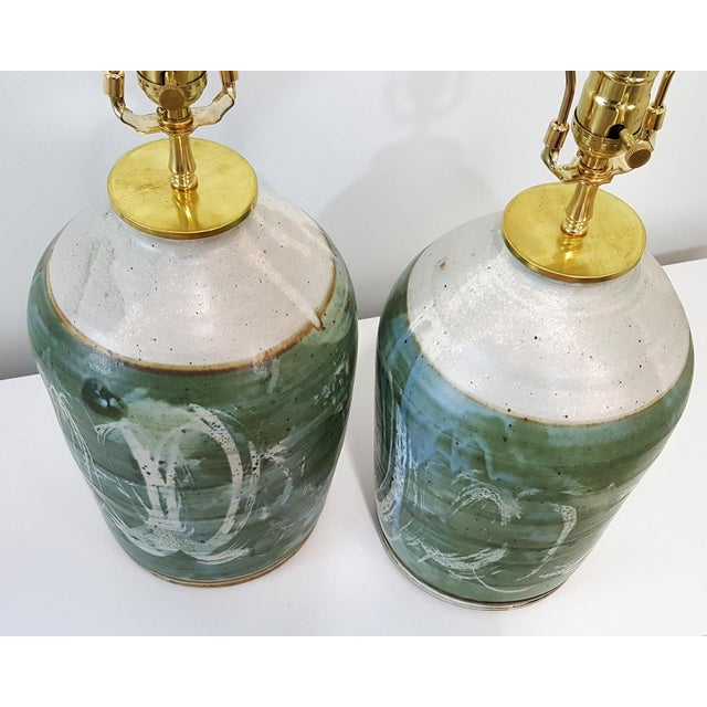 Vintage Green Studio Pottery Lamps - A Pair - Image 2 of 10