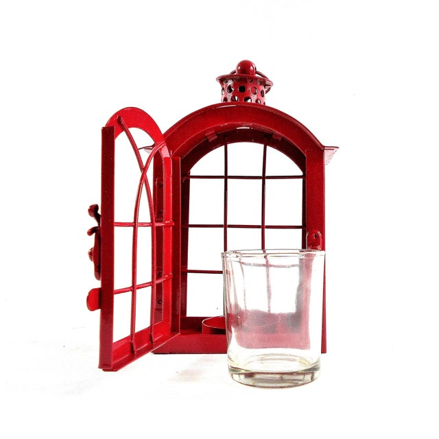 White Red Metal Votive Candle Lantern For Sale - Image 8 of 10