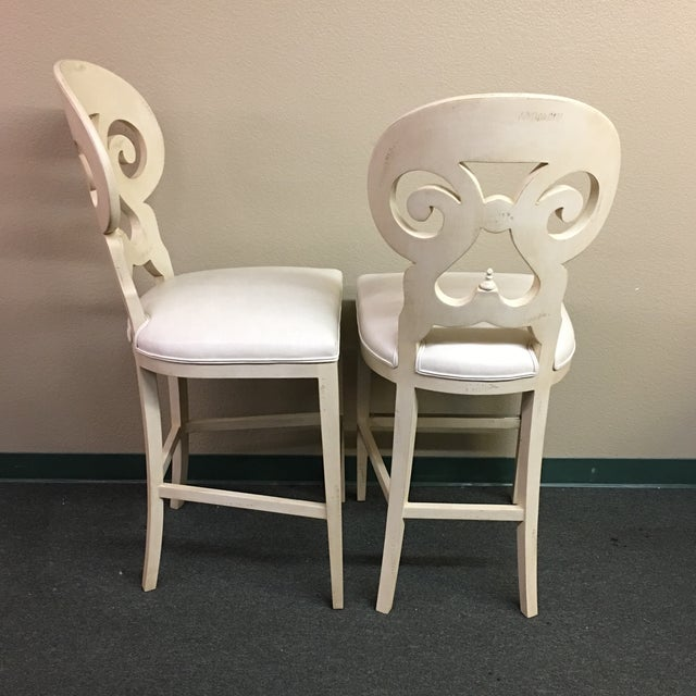 Biedermeier Style Counter Height Distressed White Barstools - A Pair - Image 4 of 11