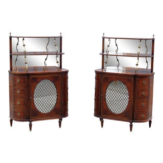 Regency Style Wooden Mirrored Back Servers - a Pair