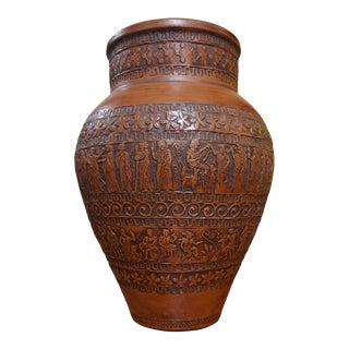 Vintage Classical Greece Incised Ceramic Vase For Sale