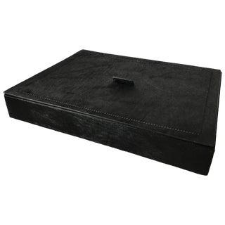 Italian Black Hide Box by B. Home Interiors 'Giobagnara' For Sale