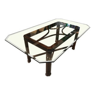 19th Century Wood Fretwork Dining Table with Glass Top For Sale