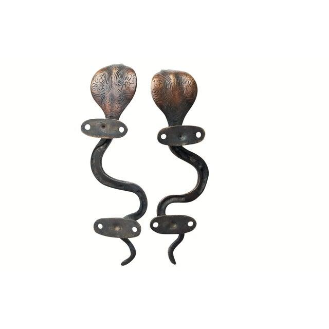 Dark Brass Cobra Door Handles - a Pair For Sale - Image 4 of 5