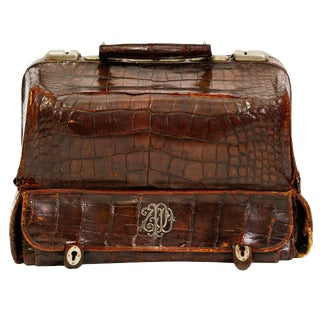 19th Century Crocodile Vanity Case With Sterling Initials For Sale