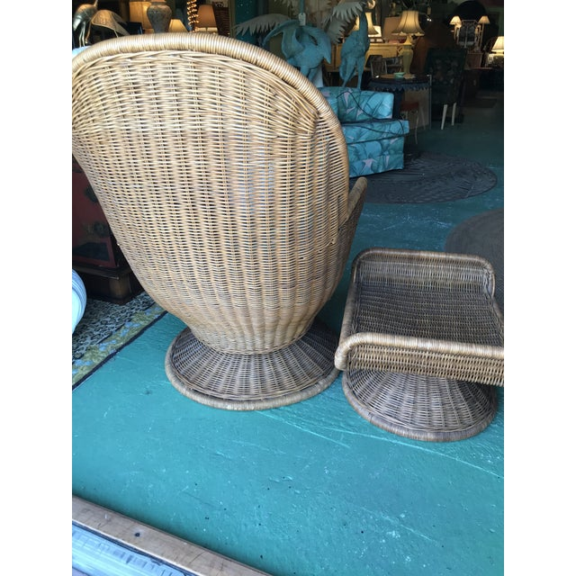 Brown Vintage Wicker Egg Chair and Ottoman For Sale - Image 8 of 12