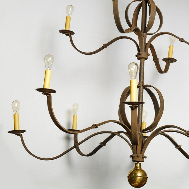 2010s Monumental Two-Tier Forged Iron Chandelier For Sale - Image 5 of 10