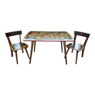 20th Century Children's Khokhloma Table and Chairs Set - 3 Pieces For Sale
