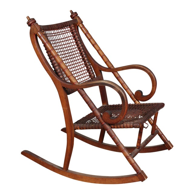 Hunzinger-Style Carved Wood and Woven Fabric Rocking Chair For Sale