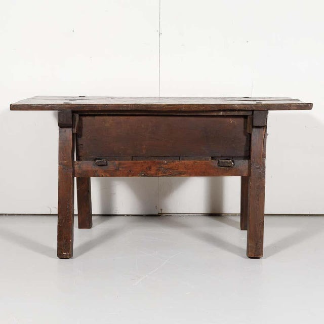 Metal 18th Century Solid Walnut Spanish Side Table For Sale - Image 7 of 13