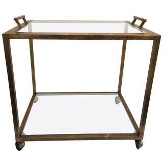 Tray-Top Brass Patina Rolling Bar Cart For Sale